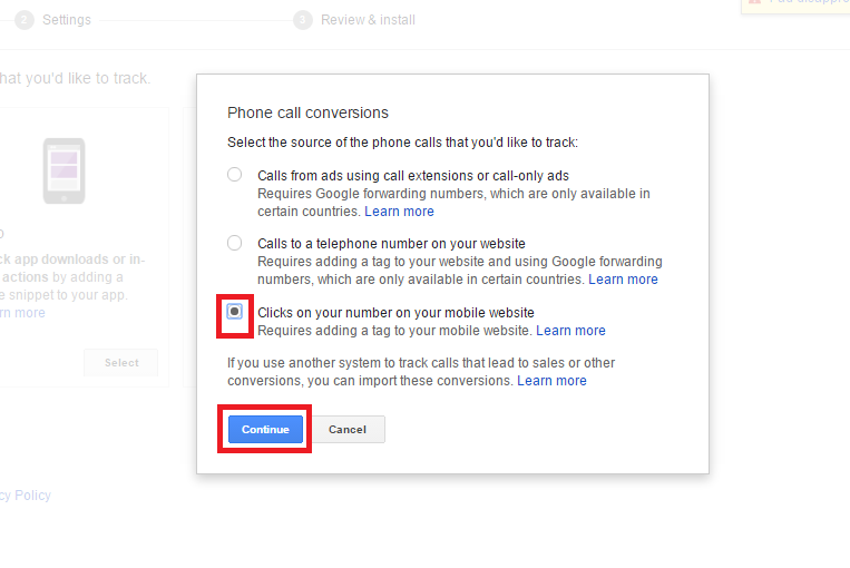 Call Tracking Google Adwords
