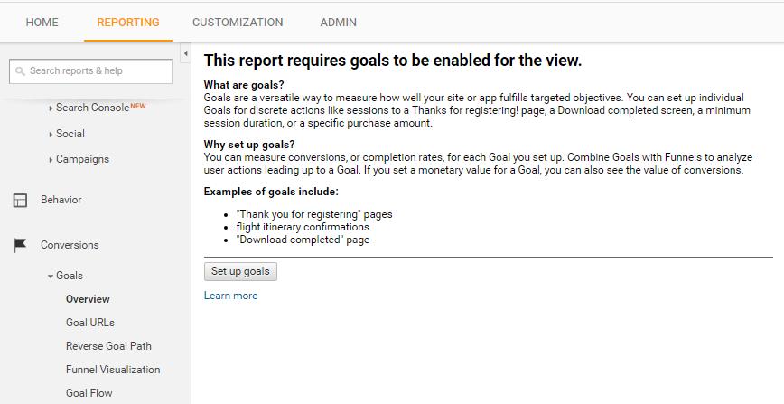 Google Analytics Conversion Goals