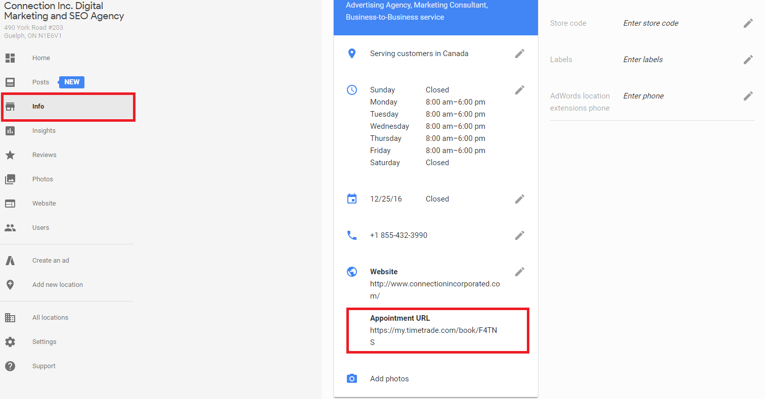 google appointment URL