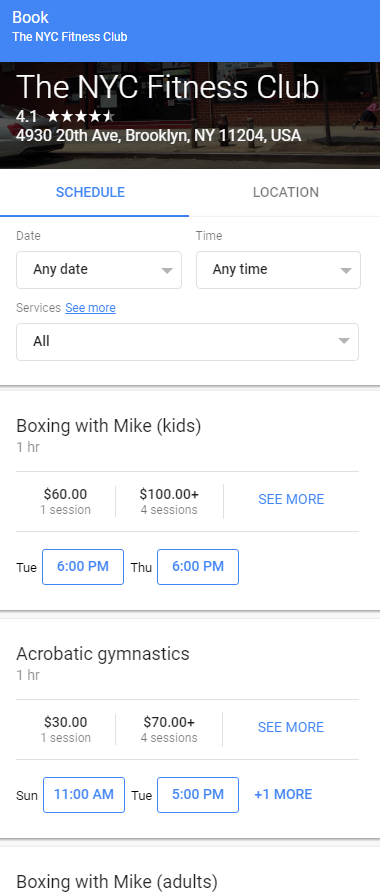 fitness club google appointment booking