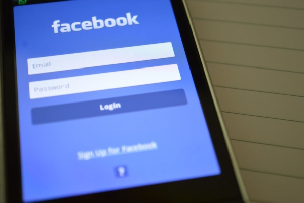 Log in to Facebook screen