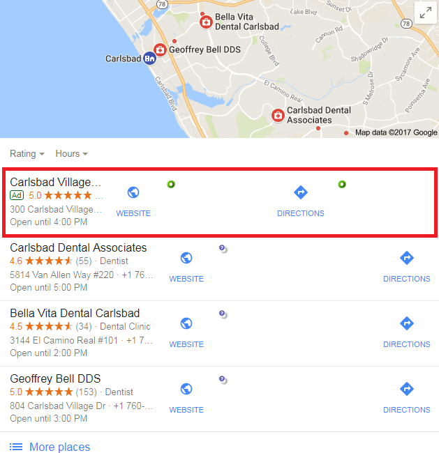 Google Ads Local 3-Pack Screenshot
