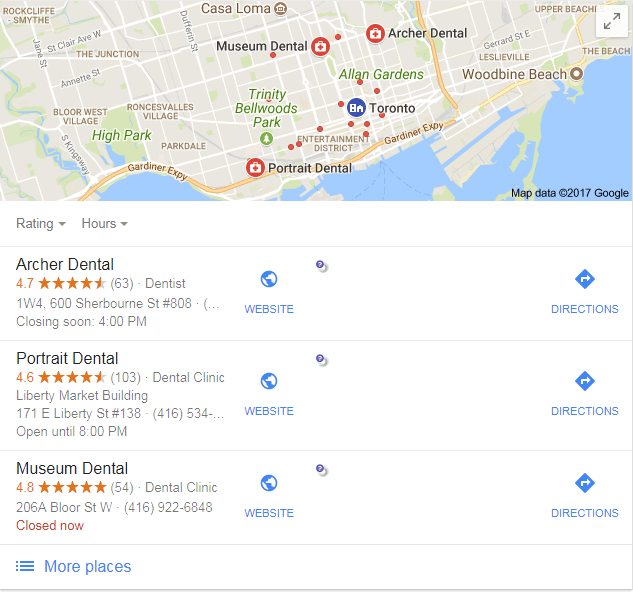 Google Map Pack Screenshot of Dentist Toronto