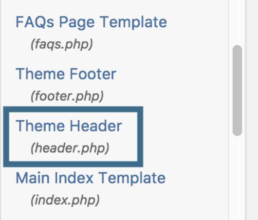 Google Analytics - WordPress Header